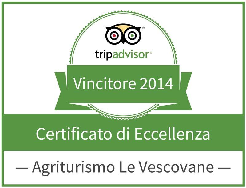 Certificato di Eccellenza Trip Advisor 2014